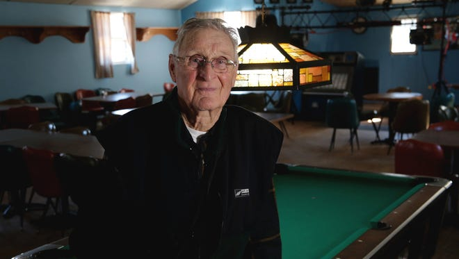 A portrait of 83-year-old Larry Sevenski with his right arm in a sling inside his restaurant, Larry Sevenski's Inn in Elmira, Michigan on Wednesday, April 12, 2017.