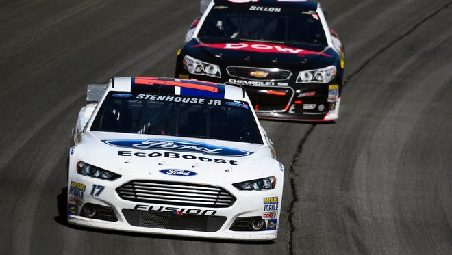 Ricky Stenhouse Jr., front, and Austin Dillon could each scored their first career NASCAR Sprint Cup win Sunday at Talladega.