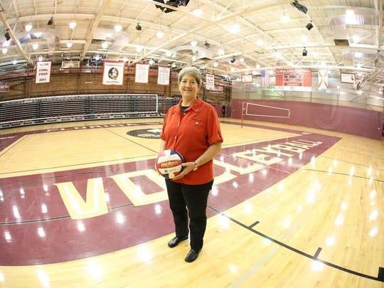 Former FSU volleyball coach Cecile Reynaud in Tully Gymnasium.