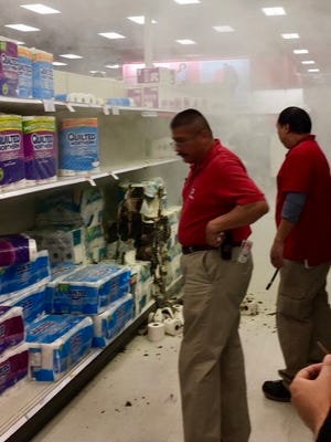 Fire is deemed suspicious after toilet paper is set on fire.