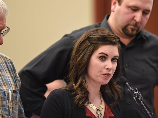 Larissa Boyce confronts Larry Nassar on Friday, Jan. 19, 2018, in Judge Rosemarie Aquilina's courtroom during the fourth day of victim-impact statements in Ingham County, Michigan. Boyce first reported her abuse to an MSU coach in 1997.