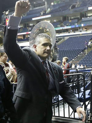 South Carolina head coach Frank Martin walks off the court after an NCAA college basketball game in the second round of the Southeastern Conference tournament against Mississippi, Thursday, March 12, 2015, in Nashville, Tenn. South Carolina won 60-58.