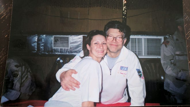 Moments before this picture was taken, Stephanie Kemplin says Al Franken groped her breast.