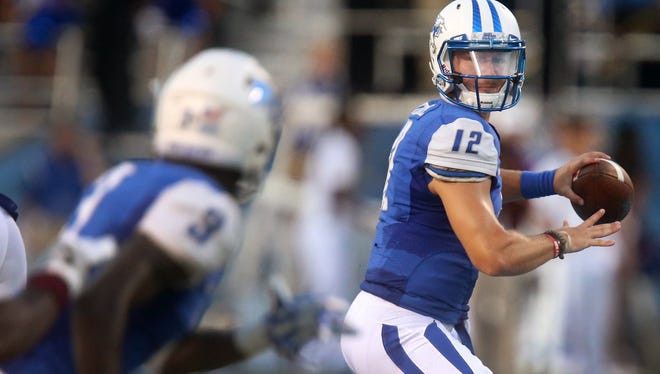 MTSU quarterback Brent Stockstill (12) is back in action tonight for the first time since Nov. 5.