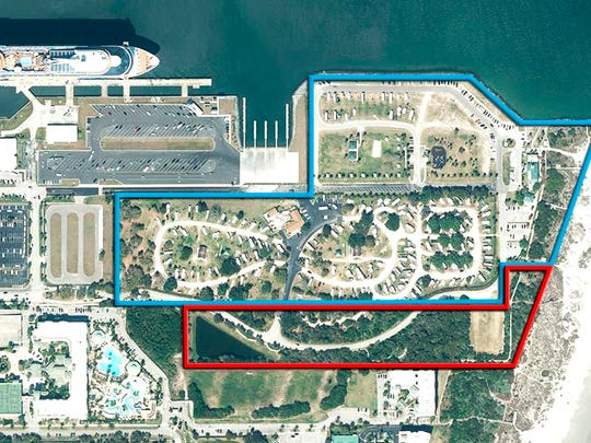 This is a aerial view of Jetty Park at Port Canaveral. Port officials are concerned the county wants to sell the area marked in red to developers to build a hotel.