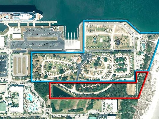 The section of Jetty Park outlined in red is the 9.6 acres that Brevard County has been leasing to Port Canaveral for $1 a year.