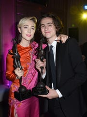 Desert Palm award honoree Saoirse Ronan and Rising Star Actor honoree Timothée Chalamet together at the After Party.