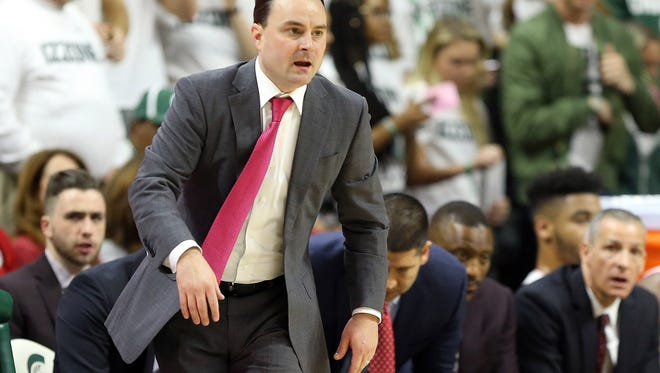 Jan 19, 2018; East Lansing, MI, USA; Indiana Hoosiers head coach Archie Miller reacts during the first half of a game against the Michigan State Spartans at Jack Breslin Student Events Center. Mandatory Credit: Mike Carter-USA TODAY Sports