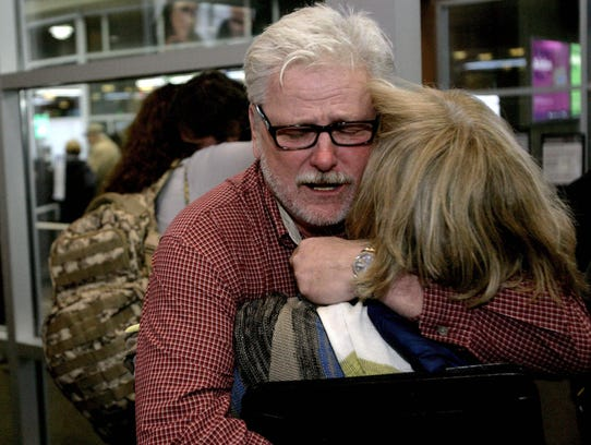 Freed aid workers Arlynn Hefta, right, and Kermit Paulson,