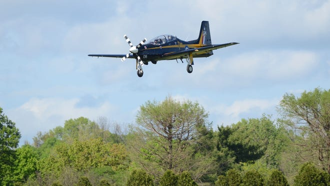 Lee Leet piloted his Royal Air Force Super Tucano over Bowman Field on  April 22, 2016,