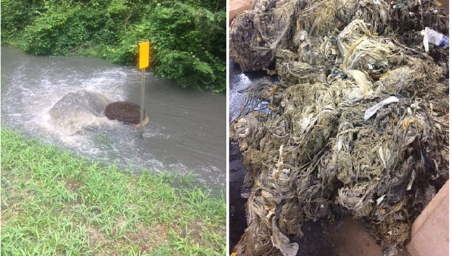 At left a manhole cover overflows with untreated sewage near West Orange Avenue in Tallahassee. At right is a pile of wipes, towels, rags and other material that clogged the pumping station and caused the overflow of nearly 200,000 gallons Monday.