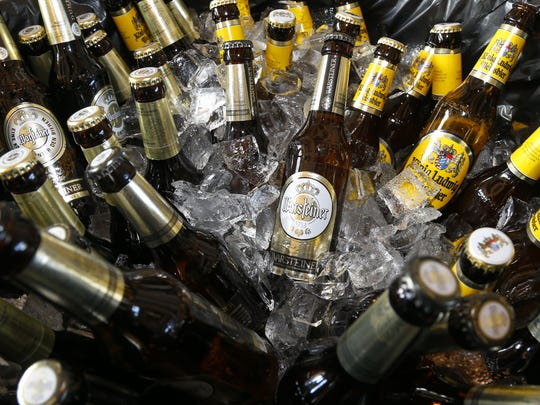 Bottles of German beer waiting to be sampled at Asbury Park Beerfest at Convention Hall, Asbury Park, Jan. 30, 2016.