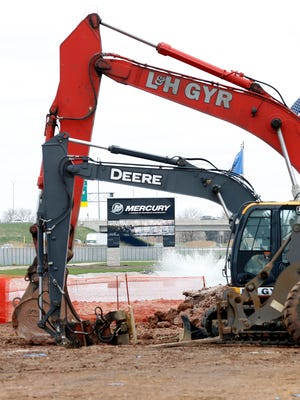 Earth-moving equipment starts work on the Mercury Marine expansion.