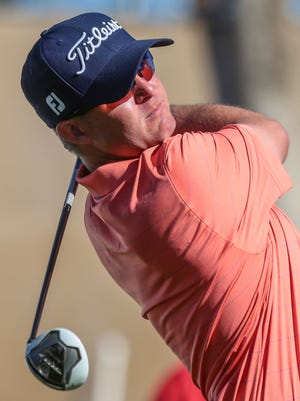 Chris Evans of Bermuda Dunes tees off on 10 on the Jack Nicklaus Tournament Course during the 3rd round of the CareerBuilder Challenge on Saturday, January 21, 2017.