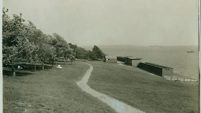 This is a look at the gymnasium and running track at Wood Island Park in East Boston as it was many years ago.