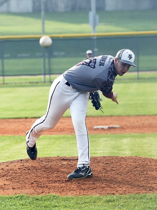 Southern Fulton's Trent Rider throws a pitch against McConnellsburg on Tuesday evening. Rider fired a one-hit shutout, and the Indians won 4-0.