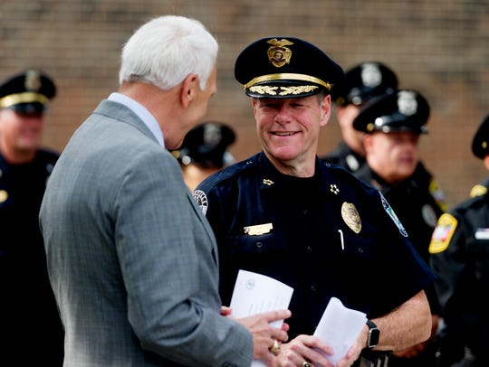 Superintendent Bob Thomas, left, and Knoxville Police
