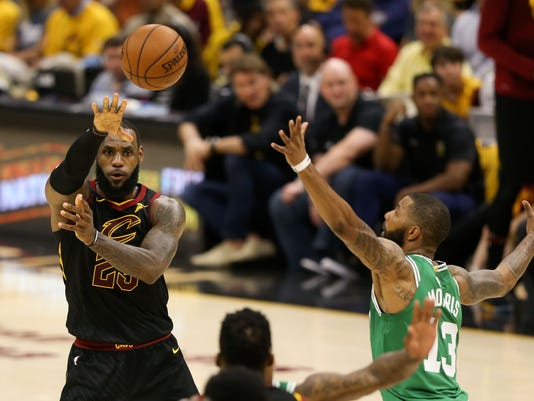 a2d18a6758fb NBA  Playoffs-Boston Celtics at Cleveland Cavaliers. Cleveland Cavaliers  forward LeBron James ...