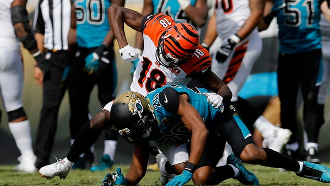 A.J. Green punches Jalen Ramsey. Both were ejected.