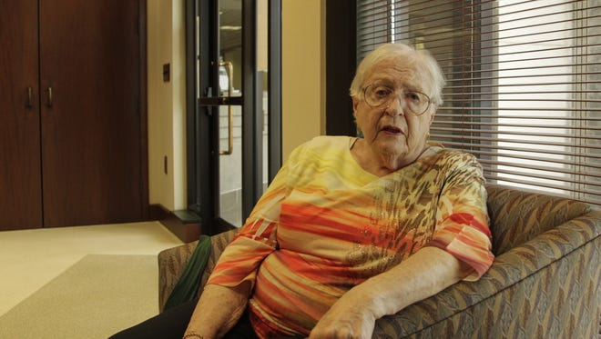 Johanna Gartenhaus, 84, recalls escaping from Nazi Germany as a child in the office of Lafayette Mayor Tony Roswarski on April 18, 2017, in Lafayette.