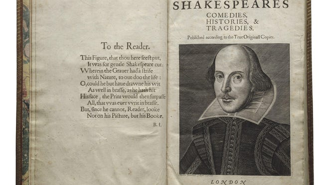 A portrait of Shakespeare in the First Folio traveling the country.