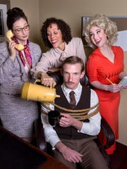 """The cast of """"9 to 5"""" at Asheville Community Theatre."""