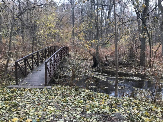A bridge runs over a creek in the Alonzo F. Bonsal Wildlife Preserve located in Montclair and Clifton on Thursday, Nov. 30, 2017.
