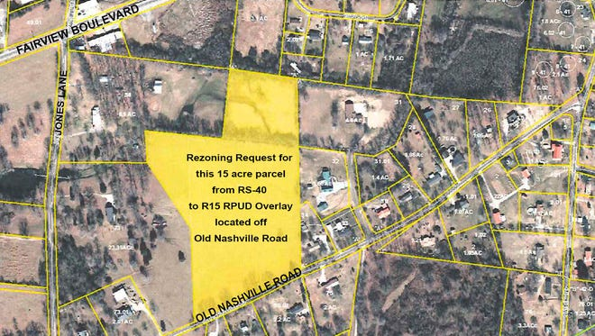 The yellow 15-acre parcel is the subject of a PUD rezoning request in the City of Fairview.