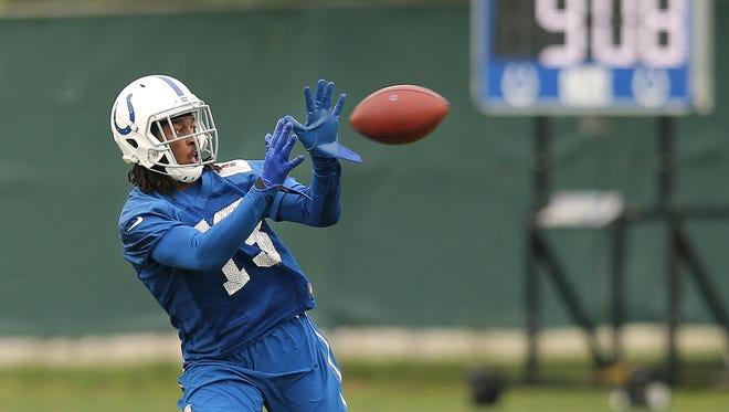 Indianapolis Colts wide receiver T.Y. Hilton caught a pass during practice May 20 at the Indianapolis Colts Training Facility.