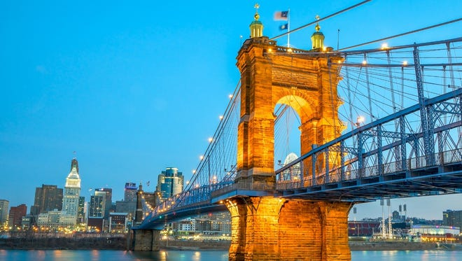The John A. Roebling Suspension Bridge is just one of many postcard-worthy views the city of Cincinnati offers.