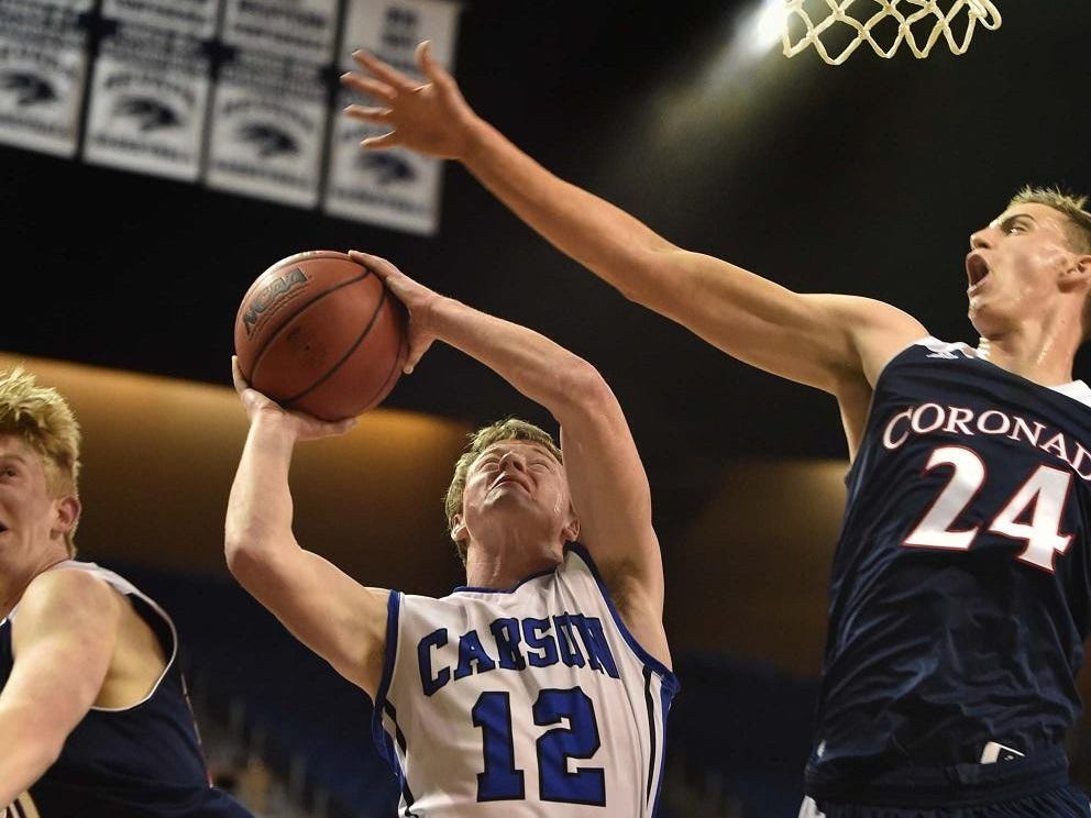 Carson's Asa Carter shoots against Coronado during the Division I state tournament in Reno.