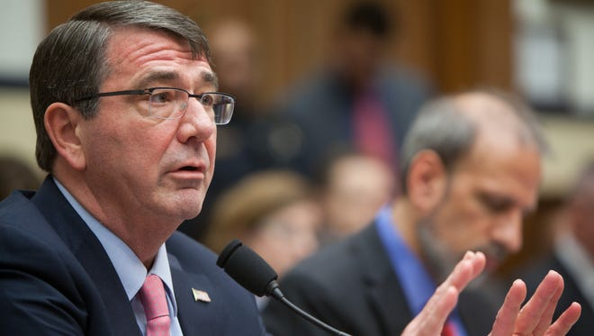 Defense Secretary Ashton Carter testifies during a House Armed Services Committee hearing on March 18, 2015.