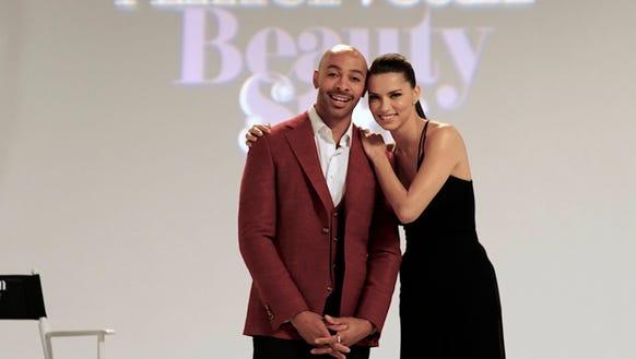 Sir John, left with 'American Beauty Star' host Adriana
