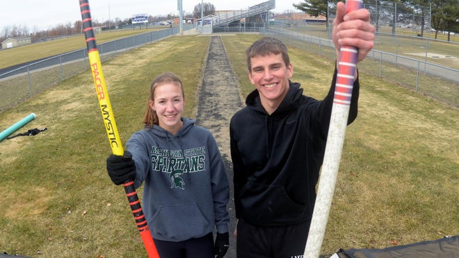 Lakeview's Hannah Emery and Michael Martin recently pole vaulted at the New Balance Nationals in New York City.