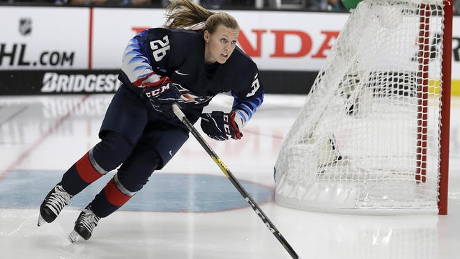 United States' Kendall Coyne skates during the Skills Competition, part of the NHL All-Star weekend, in San Jose, Calif., Friday, Jan. 25, 2019.