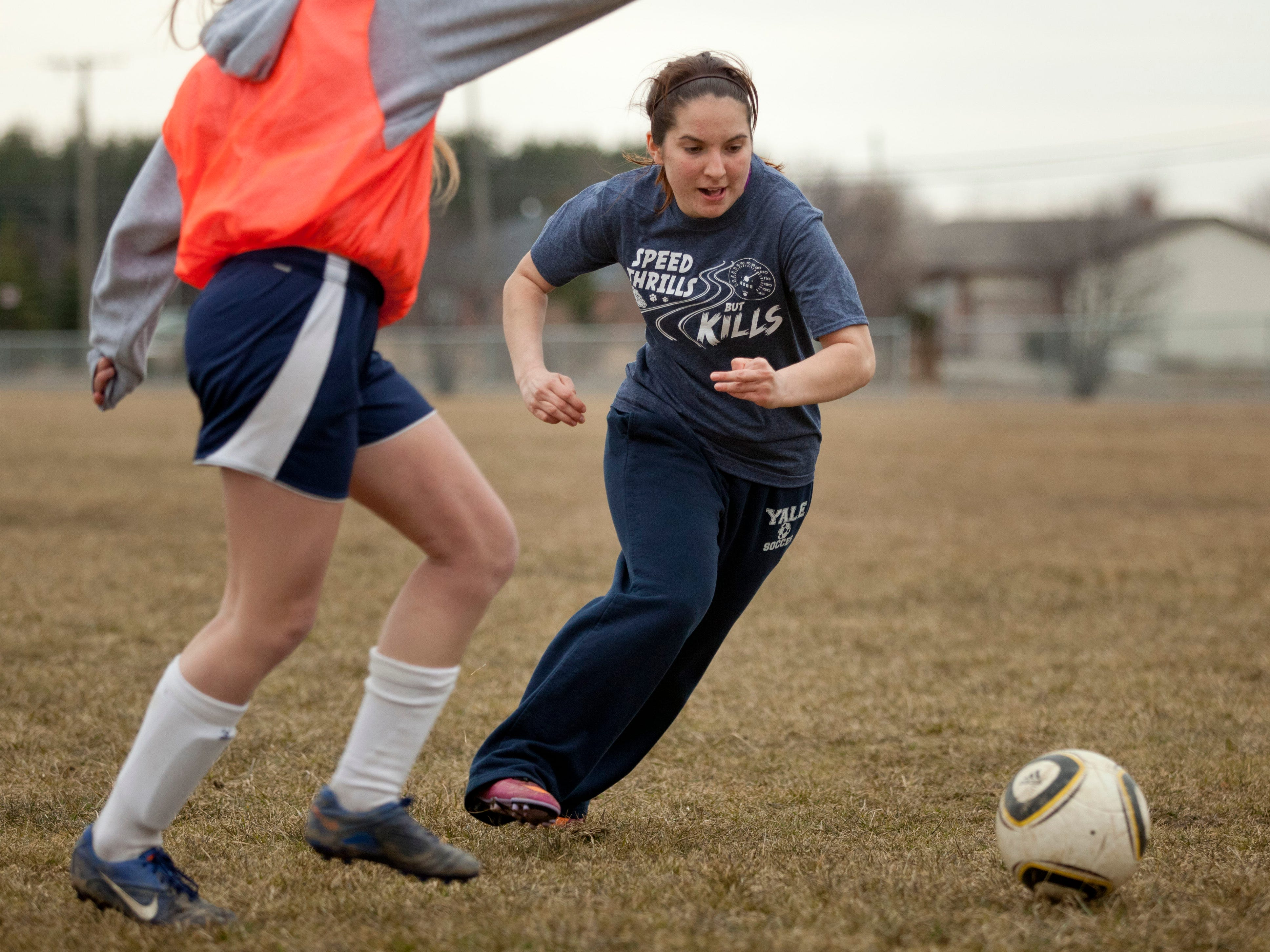 Sophomore Paige Griffith runs for the ball during practice Thursday at Brockway Township Park.
