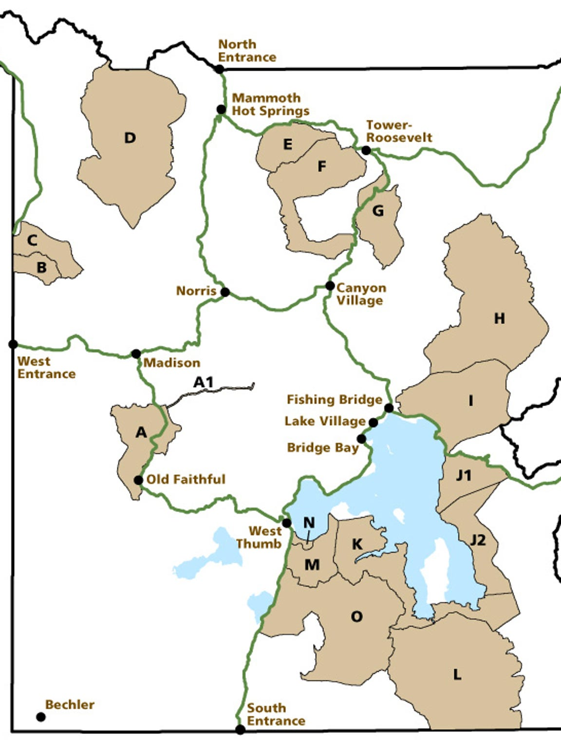 There are 17 bear management areas in Yellowstone National