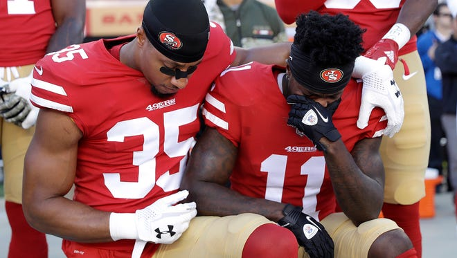 Many NFL players have been taking a knee during the anthem throughout the season.