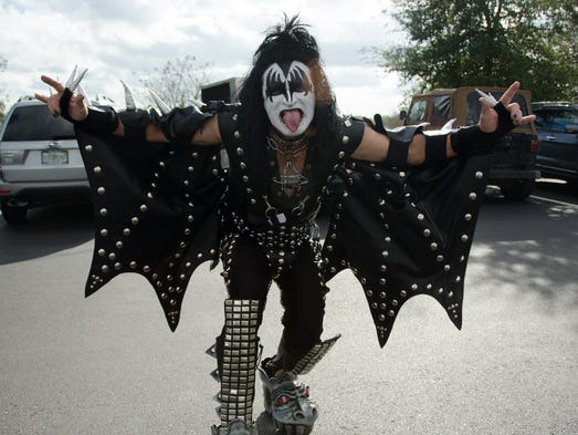 A dedicated fan dresses up as Gene Simmons to show