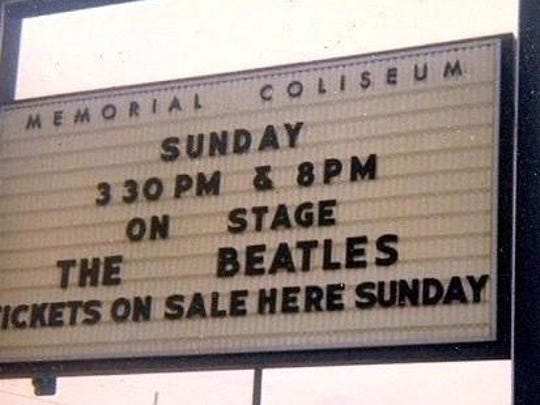 The marquee at Memorial Coliseum promoting two shows by the Beatles on Aug. 22, 1965.