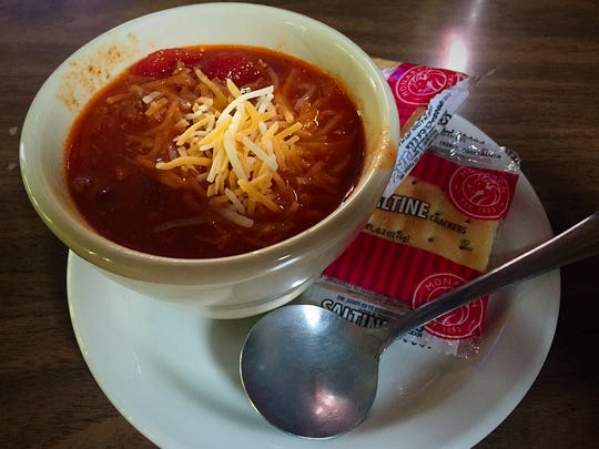 The Hilltop serves chili ($3.25 for a bowl) from October to April. Chili is available as a standalone menu item at lunch.