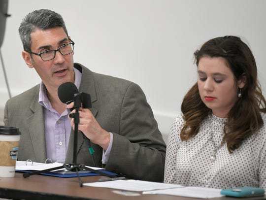 Tennessean journalists David Plazas, left, and Emily West lead a forum on a proposed sales tax Jan. 24, 2018, at the Williamson County Public Library. The event is one way in which The Tennessean is engaging with the community.