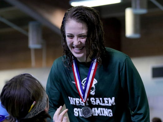 West Salem's Hannah Bodkin accepts her silver medal