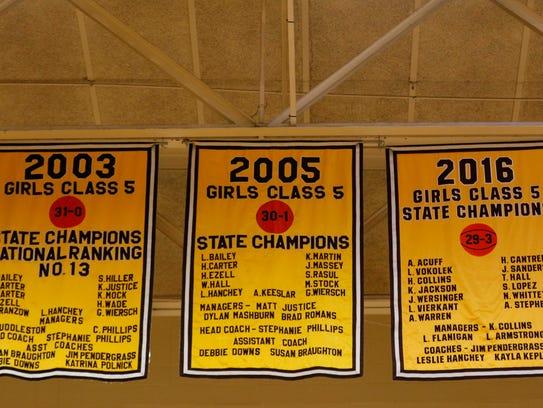 Championship banners hang at Kickapoo High School in