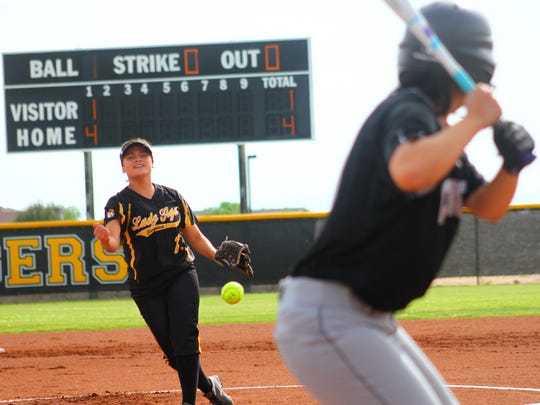 Alamogordo eighth-grader Valerie Contreras releases a pitch in game one of a doubleheader against Chaparral on Tuesday afternoon.