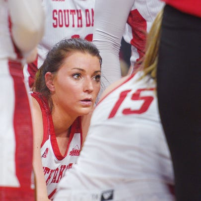 USD's Ciara Duffy gets in a huddle during the game