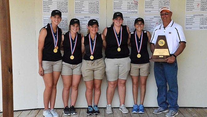 The Robert Lee girls golf team is made up of Kelby Clawson, left to right, Megan Grantham, Jaycee Crisp, Aimee Zimmermann and Autumn Ramon. They are coached by Kerry Gartman.