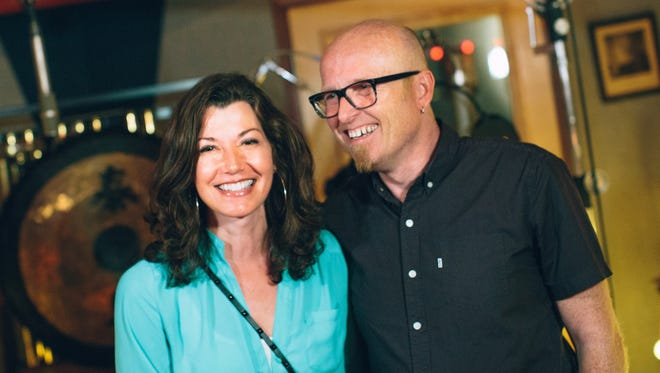 Amy Grant, left, and Stu G in the studio during the making of The Beatitudes Project's album. The project also includes a book and video exploring Matthew 5:1-12.