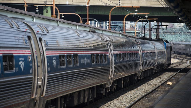 An Amtrak train departs Union Station in Washington on Sept. 3. Train service is at 80 percent of normal on the Northeast corridor following a snowstorm.