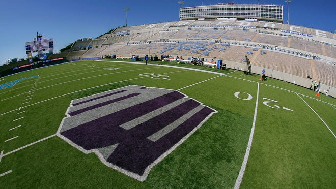 The Mountain West logo is shown at Falcon Stadium in Colorado Springs.